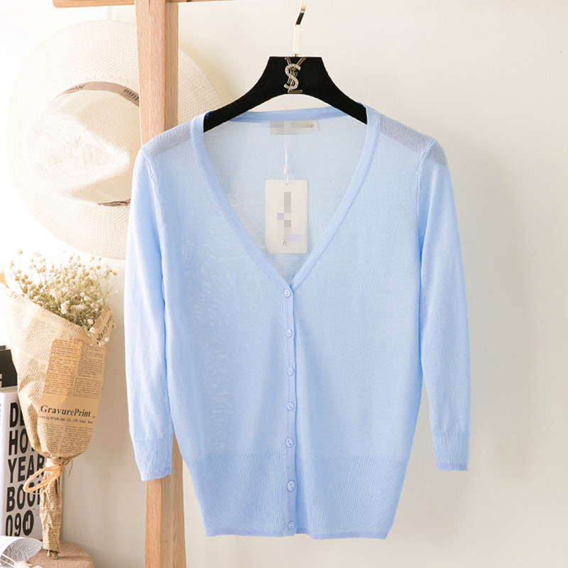 2020 New Summer Women Thin V-Neck Three Quarter Sleeve Casual Candy Color Loose Ice Silk Sweater Cardigan Lady Knitting Outwear