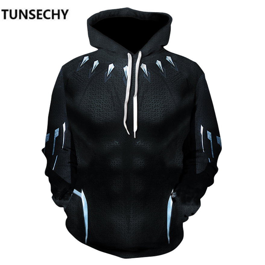 TUNSECHY 2018 Men hoodies Fashion men Black Panther 3D print Hoodies Streetwear Casual Sweatshirt S-XXXL Wholesale and retail