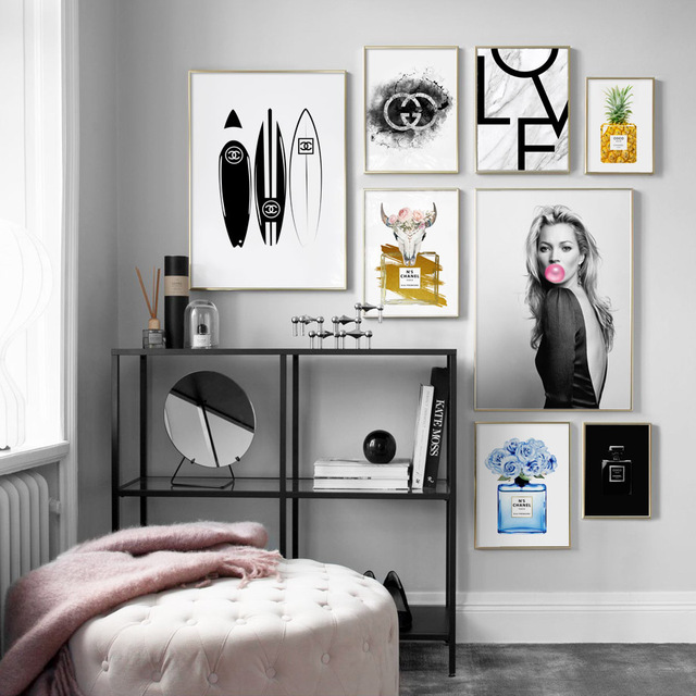Wall Art Canvas Painting Paris Perfume Surfboard Bubble Girl Nordic Posters And Prints Salon Wall Pictures For Living Room