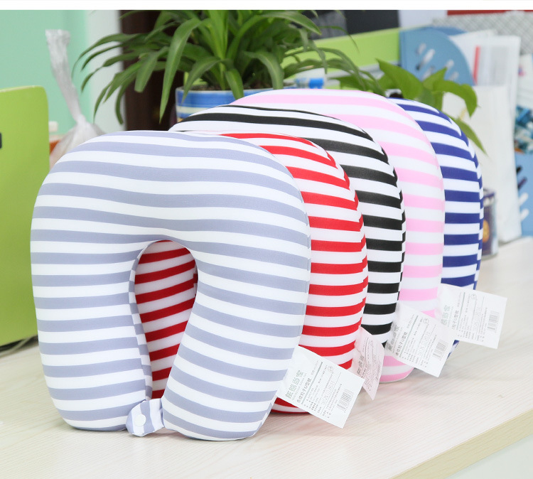 Stripe Children Adult Neck Pillow U-Shape Pillow Nano Beads Neck Pillow Protection Headrest Travel Office Soft Cushion adult children pvc inflatable pillow soft cloth sets neck pillow u type pillow outdoor travel leisure pillow multi colors