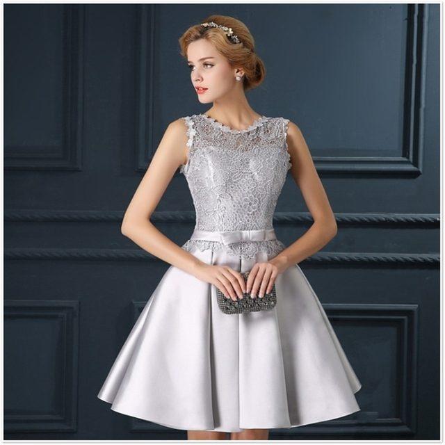 Online Shop ruthshen Robe Bal De Promo Silver Gray Short Prom ...