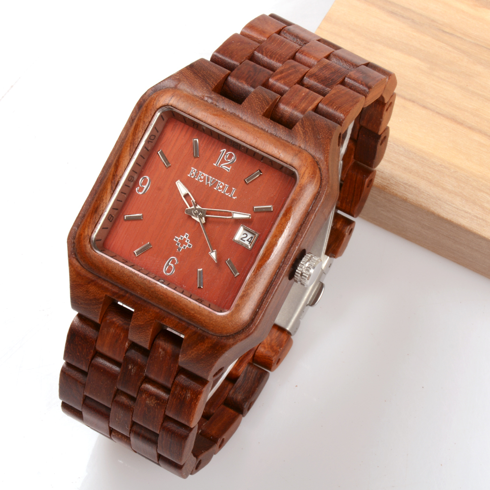 BEWELL Red Quartz Wood Watch Men Wooden Square Dial Auto Date Box Watch Rectangle Men Luxury Brand  Relogio Masculino 111A bewell luxury brand wood watch men analog digital movement date waterproof male wristwatches with alarm date relogio masculino