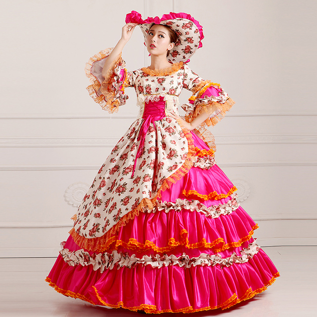 Customized 2016 Noble Rojo Estampado floral 18th century Marie ...