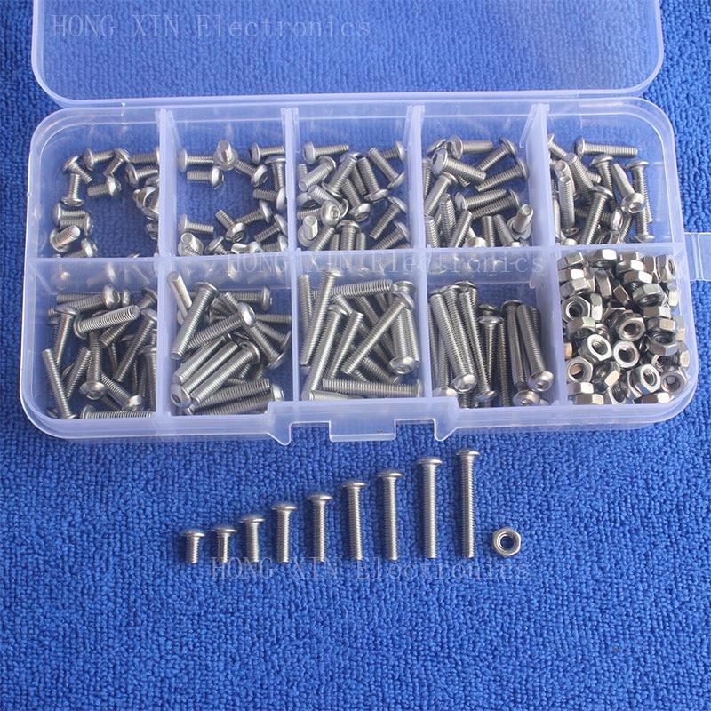 340pcs/Set M3 Stainless Steel SS304 Button Head Hex Socket Screw Bolt Nut Assortment Kit 150pcs m3 white hex spacers nylon screw nut washer assortment standoff kit stand off plastic