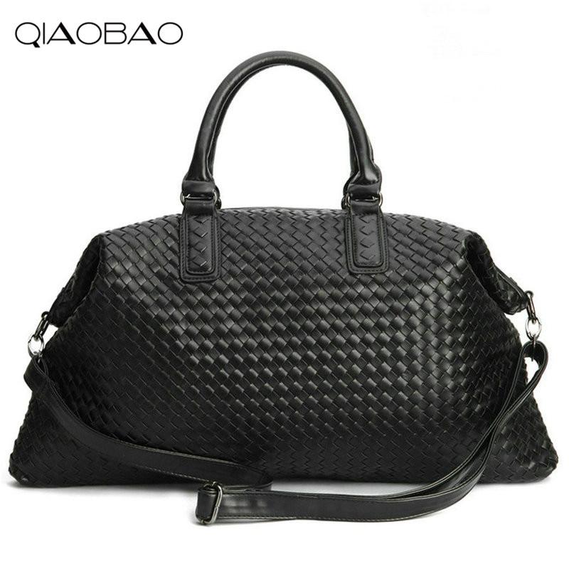 QIAOBAO Famous Brand Sheepskin knitting Quality Leather Women's Handbag Vintage Large Capacity Handmade Weaving Totes цена