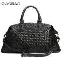 QIAOBAO Famous Brand Sheepskin knitting Quality Leather Women's Handbag Vintage Large Capacity Handmade Weaving Totes