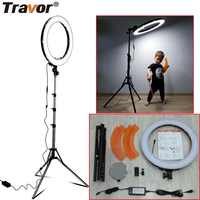 "Travor LED Ring Light Dimmable Bi-color 18"" 240PCS Annular Lamp&Tripod Studio LED Ring Photography Lighting For Camera/Photo"