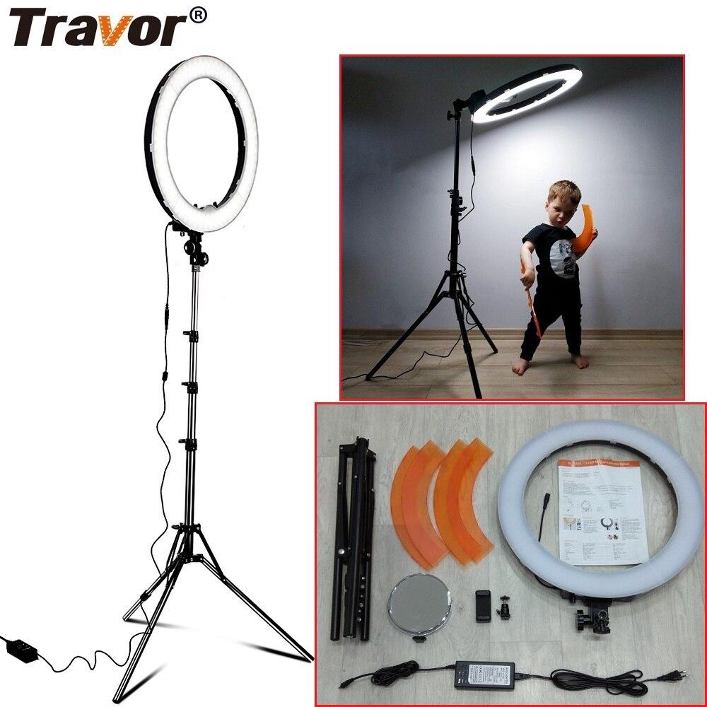 Travor LED Ring Light Dimmable Bi color 18 240PCS Annular Lamp&Tripod Studio LED Ring Photography Lighting For Camera/Photo