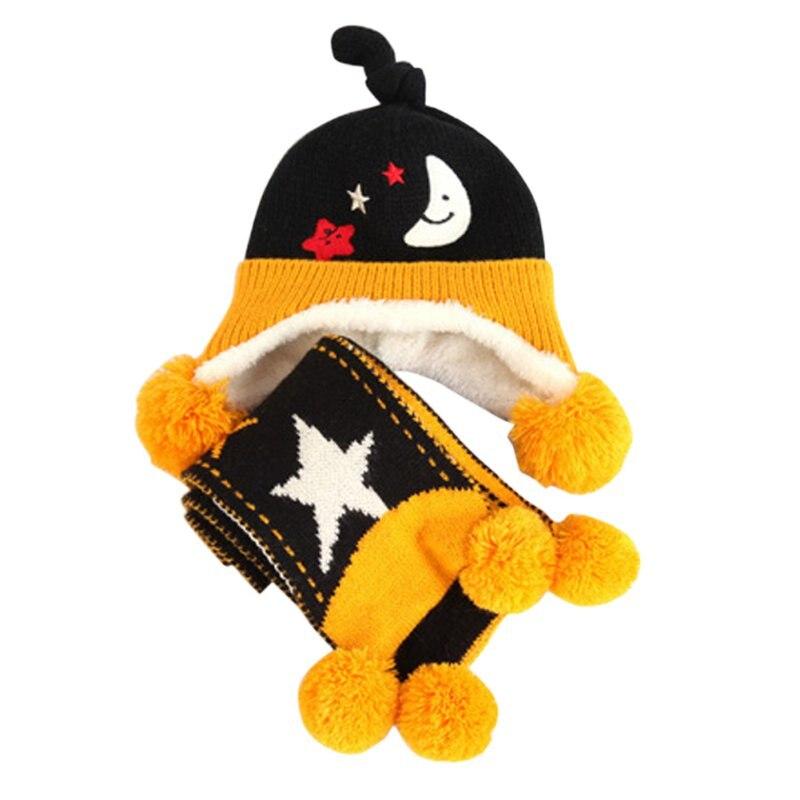 Invierno cálido bebé sombreros bufanda Sets niño niños bufanda de punto  sombrero de lana hecho punto crochet earflap Cap + bufanda 1e58ba7035d