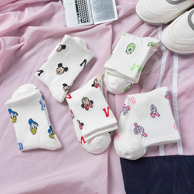 2019 Korean women Mickey Head Print Lady Cartoon Socks Cotton Breathable Sweat Girls Socks 1pair 2pcs Cartoon Mouse in Socks from Underwear Sleepwears
