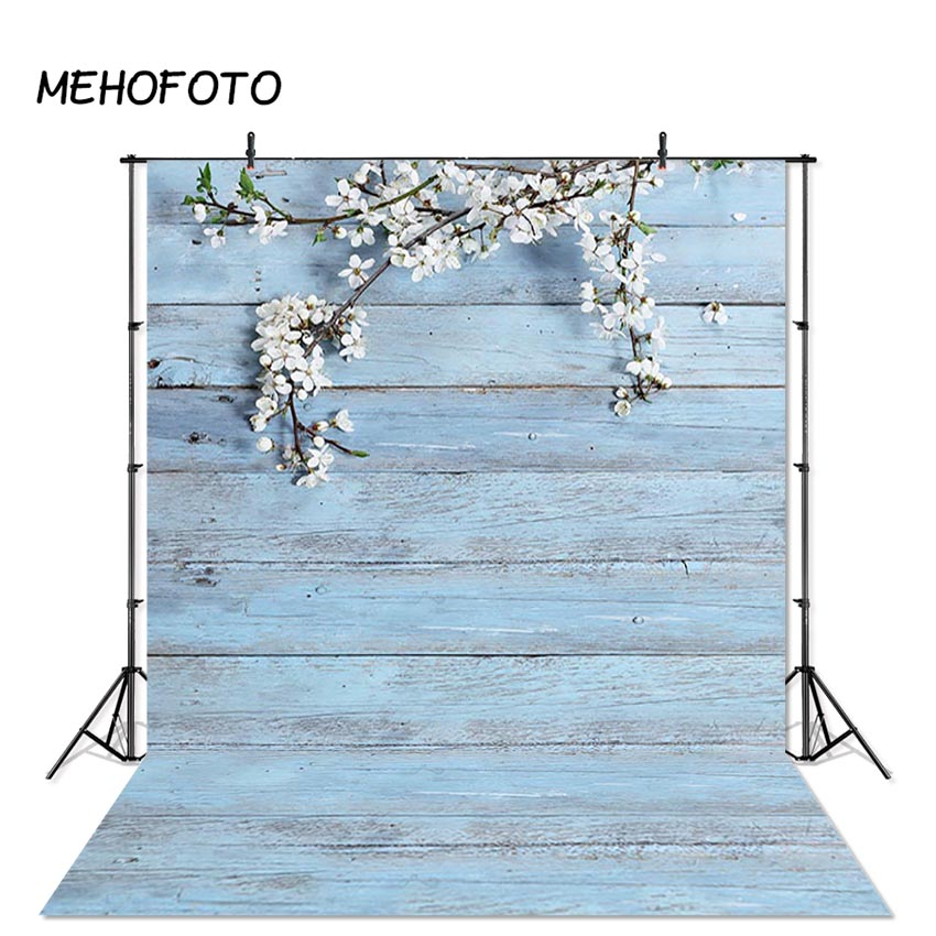MEHOFOTO Spring Wood Backdrop Light Blue Wooden Wall Flowers Photo Backgrounds Baby Shower Printed Portrait Pet Photo Backdrops image