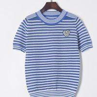 Glitter Knitted Women Stripe T Shirt Summer Short Sleeve T Shirts O Neck Top High Elasticity Female T Shirt Navy Style