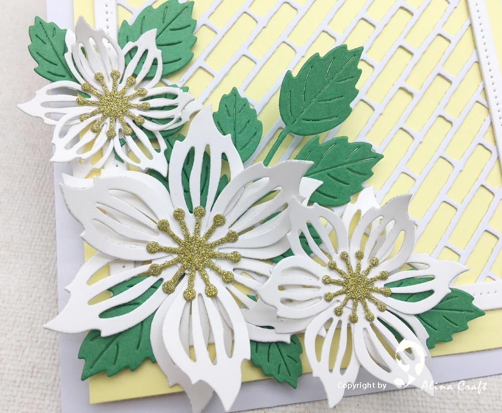 Alinacraft Metal Cutting Dies Die Cut 8pc Flower Leaf Spring