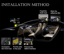 XUNMA Brand Car HUD Head Up Display OBD2 II EUOBD Overspeed Warning System Projector Windshield Auto Electronic Voltage Alarm