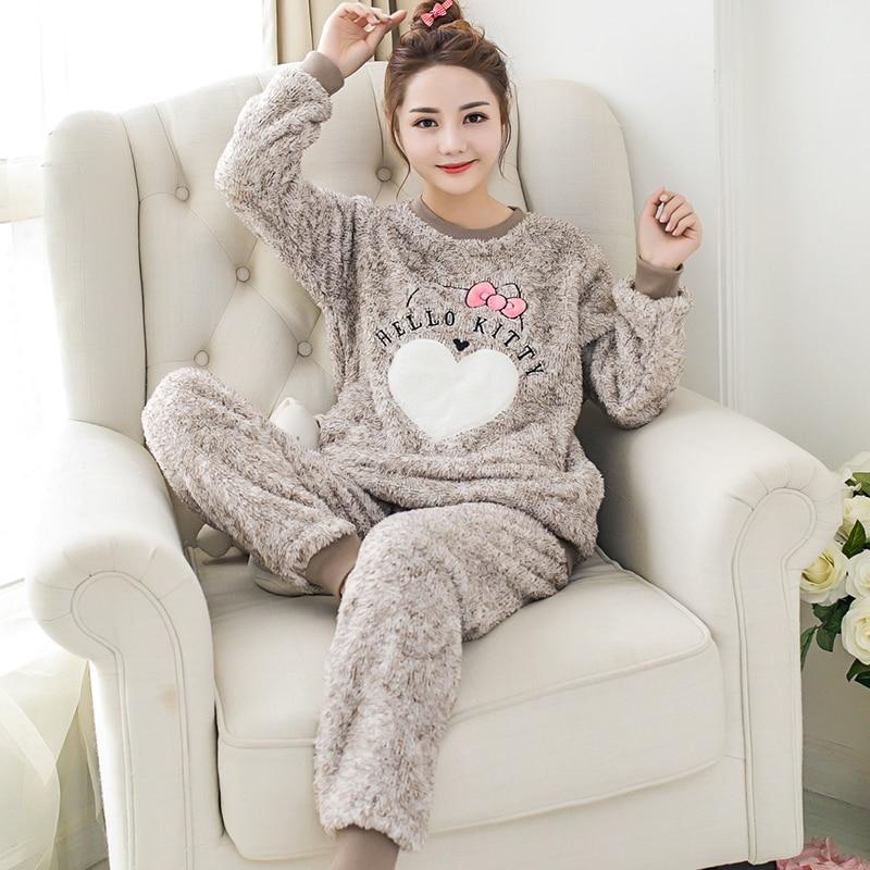 Winter Long Sleeve Women   Pajamas     Set   Cartoon CuteCat Coral Fleece Thick Warm Pyjama   Set   Female Flannel Home Sleepwear Pants Suit