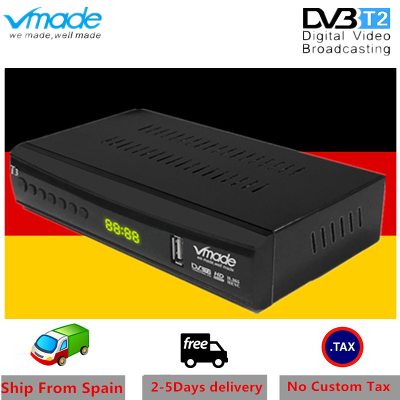 Vmade DVB T2 terrestrial receiver HD 1080P DVB T2 TV Tuner TV Box DVB T2 H.265 HEVC support youtube WIFI AC 3 Hot sales Germany-in Satellite TV Receiver from Consumer Electronics