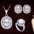 925 Sterling Silver Pearl Jewelry Set Hot Bridal Wedding Jewelry Set, 11-12mm Super Big Natural Pearls
