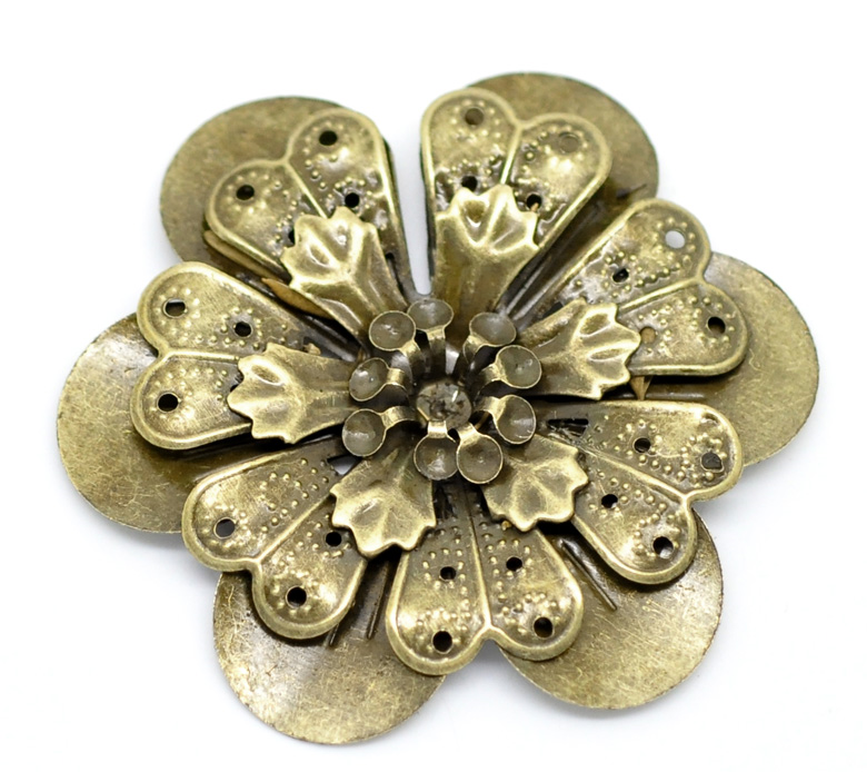 DoreenBeads 10 Antique Bronze Filigree Flower Embellishments Findings 4.9x4.5cm(can hold SS10 rhinestone) (B18562), yiwu doreenbeads embellishments findings filigree wraps connectors triangle antique bronze 22 0mm x 22 0mm 100 pcs