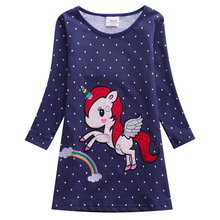 Girls Dress Long Sleeve Kids Flower Dresses Children Unicorn Vestidos 2018 Autumn For Girl AL6459