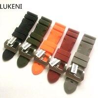 Lukeni 24mm 26mm zwart orange grijs groen rood waterdicht silicone rubber horloge bands met zilveren gesp vervang pam strap