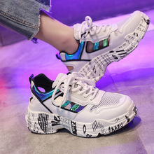 Hollow Sneakers Women Graffiti Heels Glitter Summer Outdoor Soft Shoes Fashion Plus Size