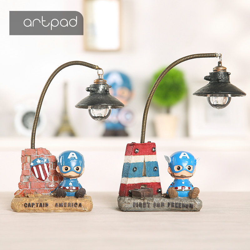 Artpad Marvel Deadpool Cartoon Night Lamp Creative Home Decoration Resin Children Baby Kids Night Light Great Gift artpad pink blue cartoon figures led unicorn lamp e14 resin dimming eu us plug in kids baby night light for children