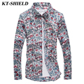 High quality Casual Men Shirt Floral Fashion Long sleeved Shirt Brand designer Slim fit Men Shirts Camisas masculina 4XL 5XL