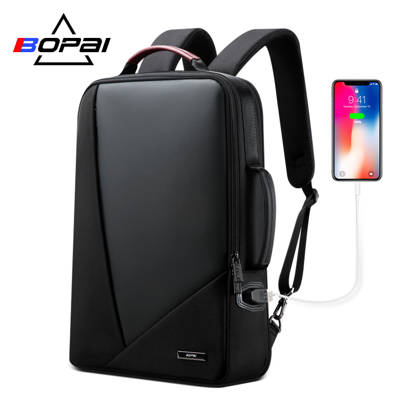 BOPAI business backpack mens trend leisure travel usb charging Port simple fashion computer bag