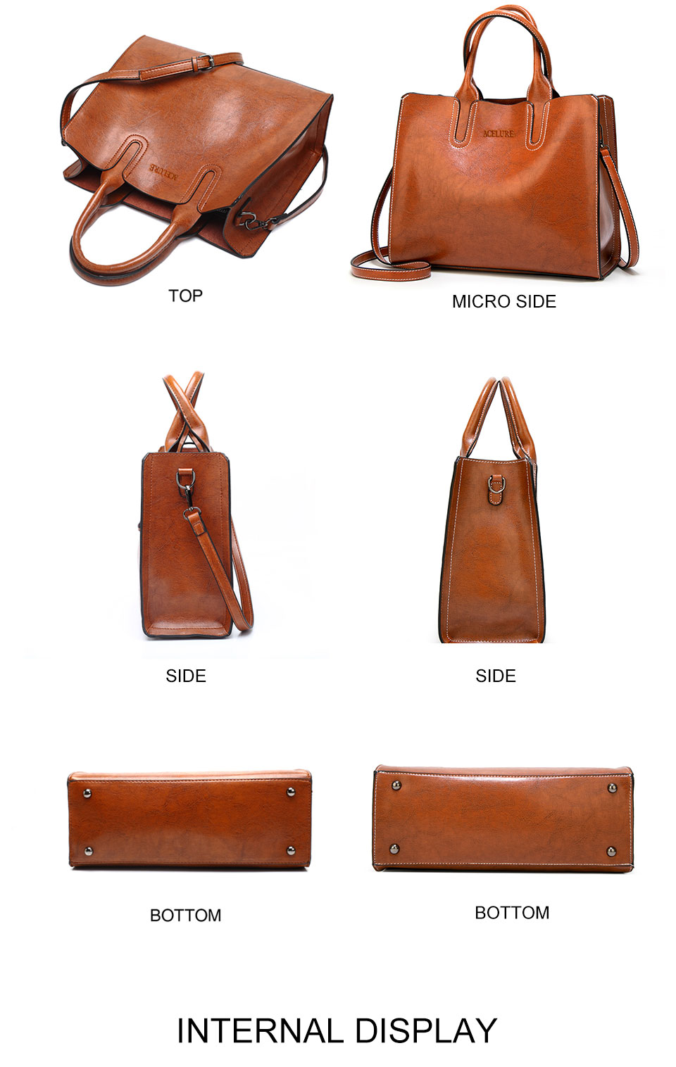 ACELURE Leather Handbags Big Women Bag High Quality Casual Female Bags Trunk Tote Spanish Brand Shoulder Bag Ladies Large Bolsos 13