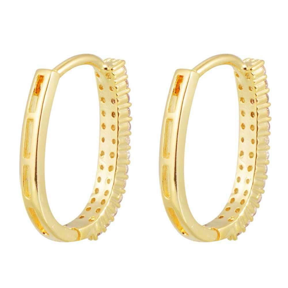 Luxo zircon cristal ouro hoop brinco para as mulheres brilhando strass redondo grandes brincos moda jóias de casamento noiva shellhard