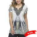 Boho Plus Size Lace Panel Beaded T-Shirt Short Sleeve Oversized Vintage Floral Print Sexy Tees 4Xl 5Xl