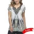 Boho Plus Size Lace Panel Beaded T-Shirt Short Sleeve Oversized Vintage Floral Print Sexy Tees 4Xl 5Xl