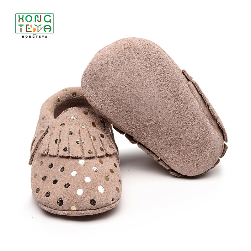2020 Genuine Leather Baby Moccasins  Newborn Brand Baby Shoes Polka Dot Low-top Baby Shoes Fringe Soft Sole Non-slip Footwear