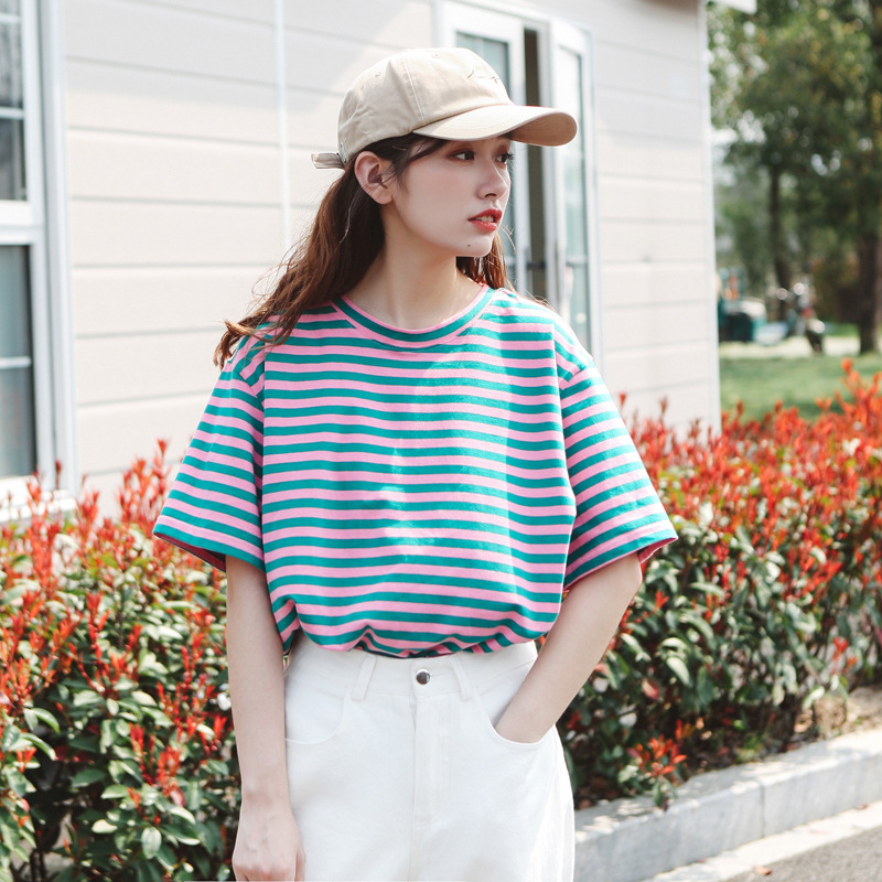 Vintage Striped T-shirts 2019 Summer Casual 80s 90s Clothing Youth Women Day Tee Shirts Short Sleeve Cotton Women's Tops Tshirt