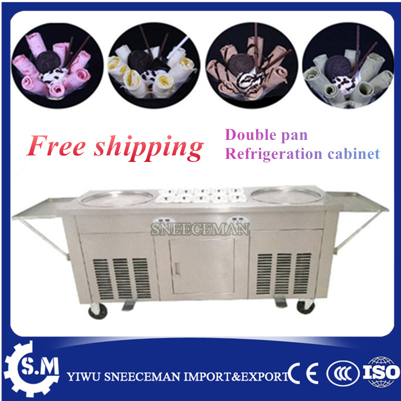 NEW Ice Cream rolling machine fried ice cream machine double 2 pans ice cream roller machine with cabinet
