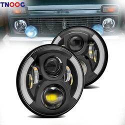 """TNOOG 2 шт. 7 """"50 Вт светодиодный фара для Jeep Wrangler УАЗ Хант 7 дюймов светодиодный дальнего света с точка E9 для Land Rover Defender"""
