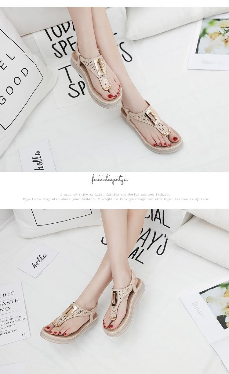 HTB1lBBybyLrK1Rjy1zdq6ynnpXaT TIMETANGSummer Platform Flip Flops Women Solid Color Beach Sandals Soft Leather Comfortable Low Heels Flats Shoes Metal Big Size