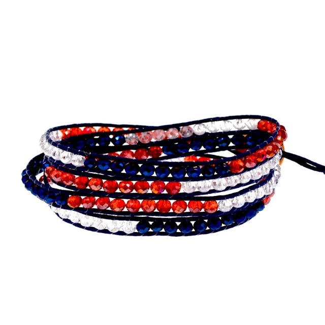 Red White Blue Flag Mix Color Crystal Beaded On Navy Cord 4 Wrap Bracelet Fashion