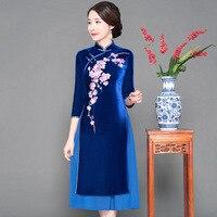 New Arrival Elegant Female Slim Qipao Mandarin Collar Blue Flower Chinese Dresses Velvet Vietnam Aodai Plus Size Cheongsam S 3XL