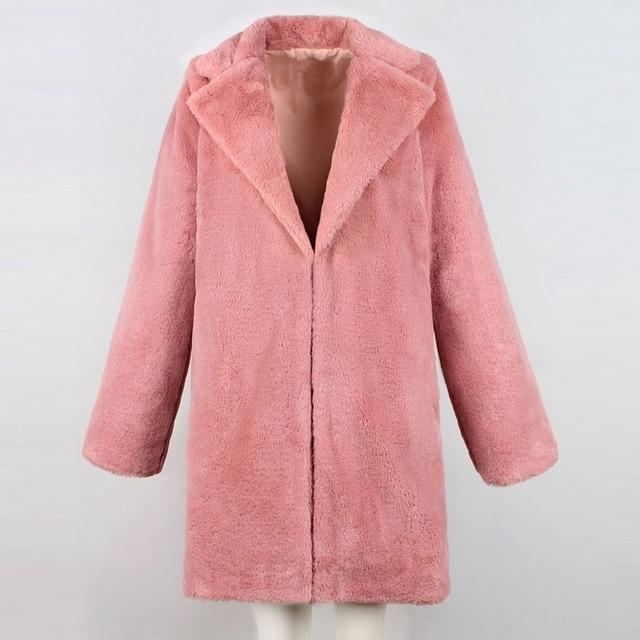 OEAK 2018 Women Faux Fur Long Coat Winter Warm Fluffy Cardigan Jacket Female Casual Soft Plush Teddy Coat Plus Size Pink Outwear 4