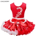 Fashion New Year Costume Christmas Child Sleeveless Toddler Lace Skirt Top Set Kids Outfits Ropa Bebe Children Clothing Sets