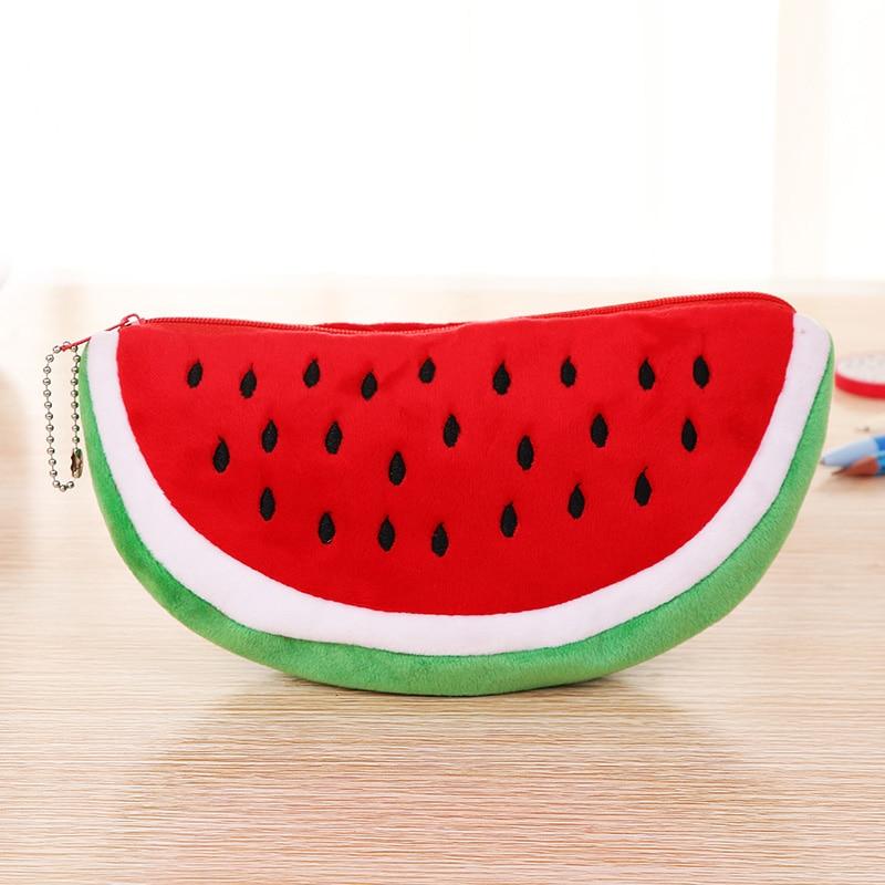 Cute Fruit Kawaii Watermelon Pencil Case Plush Large Capacity Pencil Bag Cosmetics Case For Kids Gift School Suppli Stationery