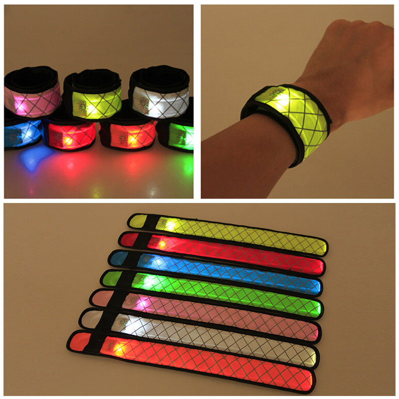 Nylon LED Sports Slap Wrist Strap Band Luminous Toy Wristband Light Flash Bracelet Glowing Armband Party Toy For Children NSV775