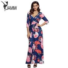 Automne robes femmes Robes Marine Imprimé floral Enveloppé Maxi Longue Boho Robe Une Ligne Chemise Robes Longue Femme LC61631