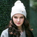 Lady New Knitted Wool Hat Female Autumn and Winter Hat Hand Knitted Playful Hair Ball Flanging Kraft Woolen Cap B-4599