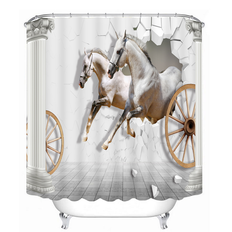 new luxury 3d shower curtains white running horse pattern waterproof thickened bath curtains bathroom hooks for home decorations