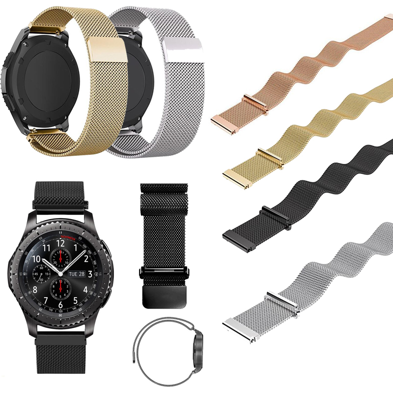 22mm Stainless Steel Metal Milanese Magnetic Loop Watch Band for Samsung Gear S3 Classic Frontier Wristwatch