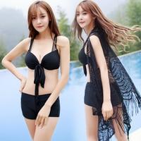 Rhyme Lady Female Black Bikini Set Cross Back Style Crochet Bikini Beach Cover High Waist Bottom