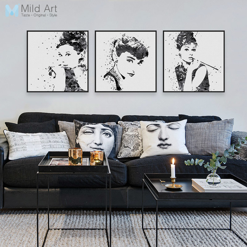 Tríptico Original Acuarela Negro Blanco Audrey Hepburn Pop Movie Star Art Prints Poster Girl Picture Canvas Painting Wall Decor