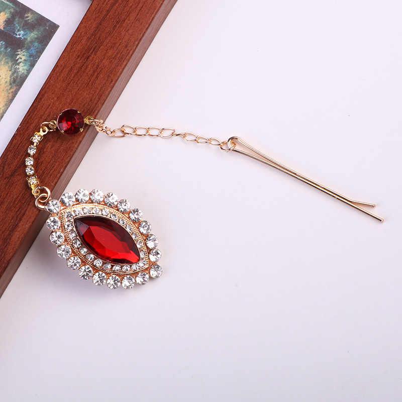 Personalidad estilo étnico brillante Diamante de imitación frente colgante con horquilla mujeres cejas decoraciones Diamante joyería para el cabello